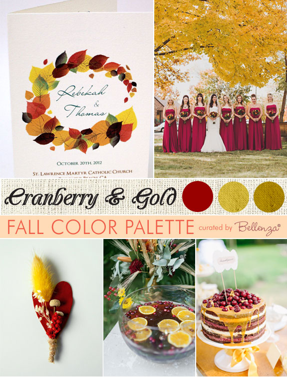 Cranberry and gold wedding inspiration board with cranberry bridesmaid dresses, boutonnieres, a naked wedding cake, and cranberry cocktails.