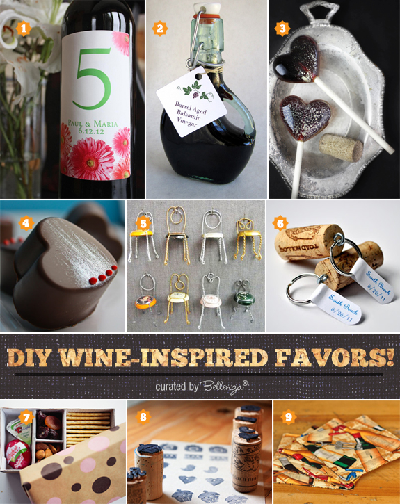 Diy wine favors ideas from wine labels to lollipops and truffles to cork key chains