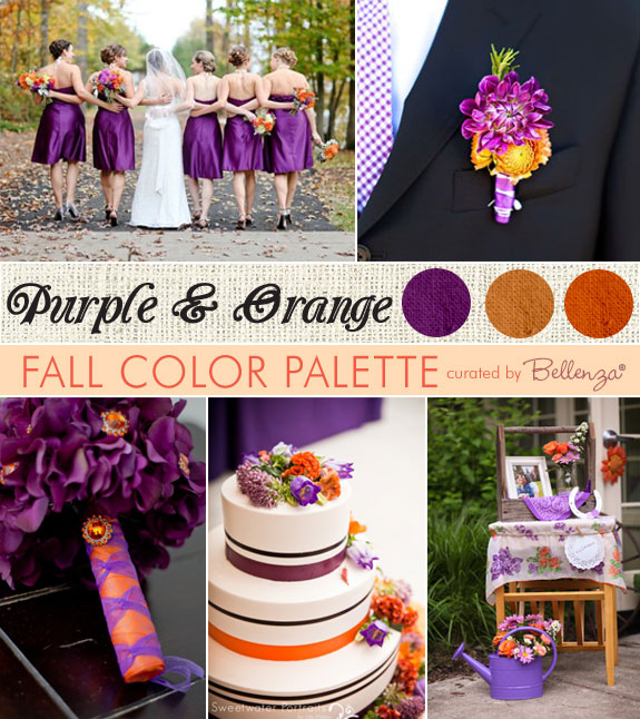 Purple And Orange Weddings Inspiration Board With A Modern Style