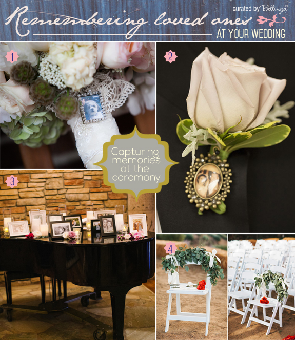 Special ways to remember your loved ones at a wedding from bouquet pendants to display tables to a seat of honor.