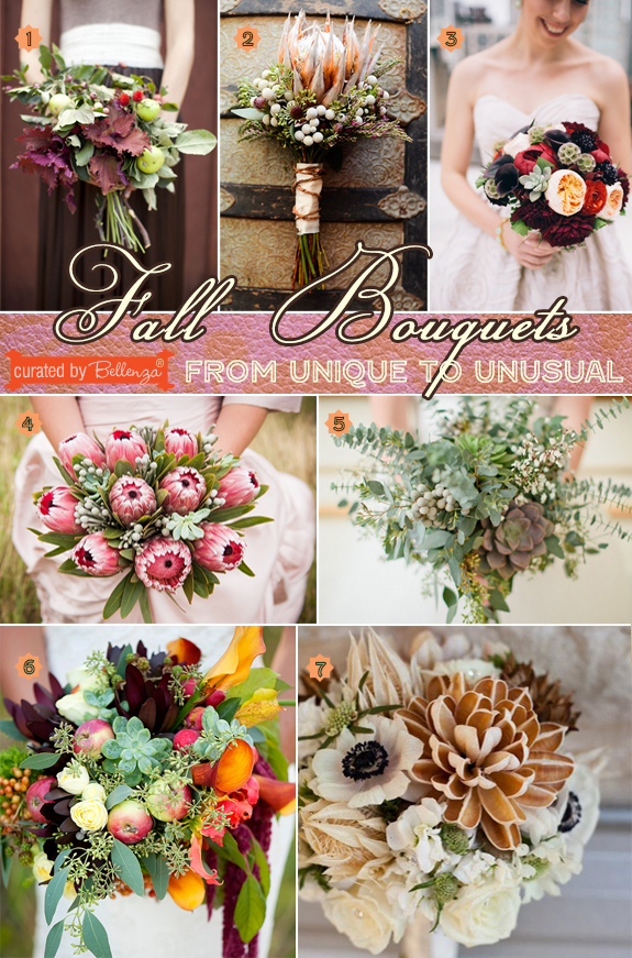 Unique to unusual bouquets for fall weddings that use textures in a variety of ways.