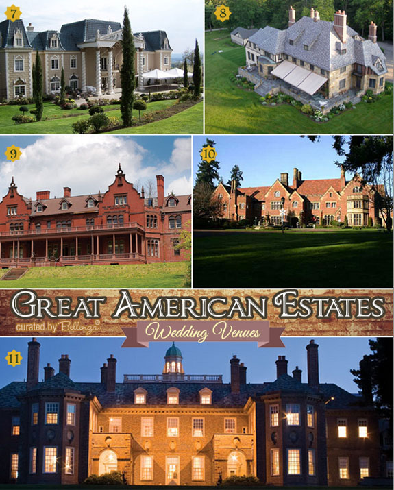 American estates as wedding venues from The Empress Estate in Washington to  Castle Hill on The Crane Estate.