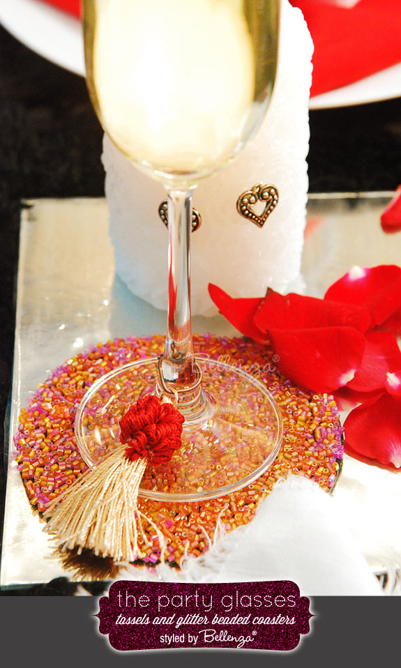 Eclectic Halloween wine glass tassels and drinks display by Bellenza