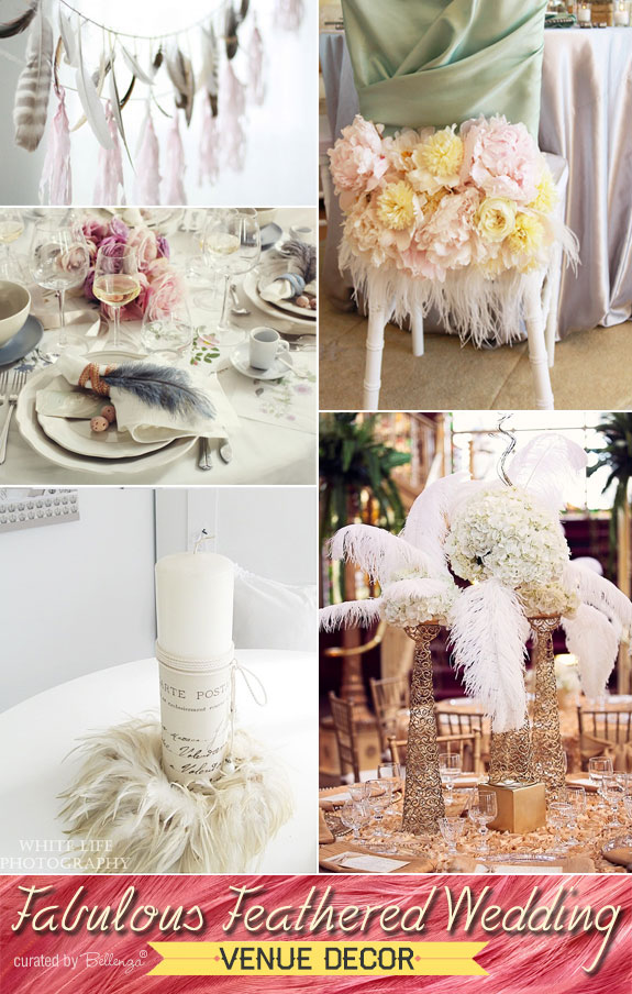 Tips for decorating with feathers at a winter wedding