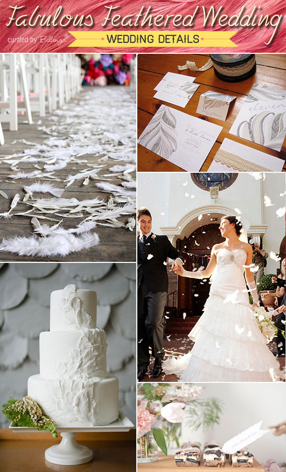 Wedding table decorations, cake, and ceremony details with feathers