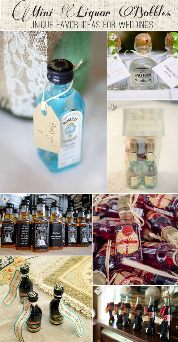 Mini Liquor Bottles as Wedding Favors from Tequila to Bourbon to Bailey's