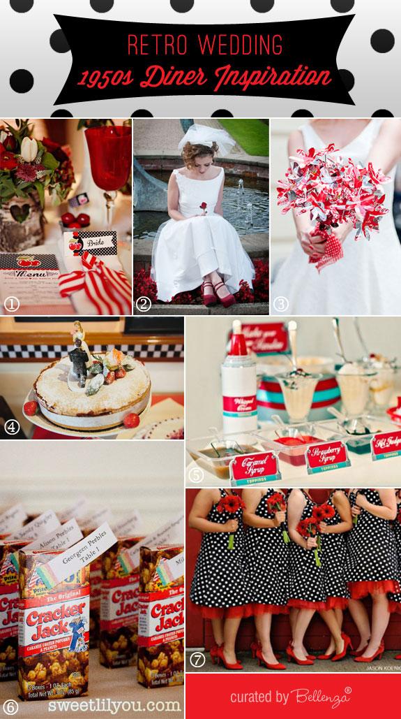 Retro 1950 diner wedding theme inspiration board by Bellenza