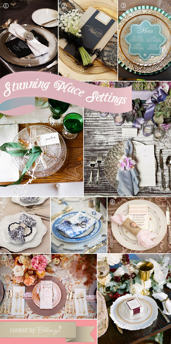 Vintage glam place settings with elegant dinnerware, fancy chargers, stylish napkins and menu cards.