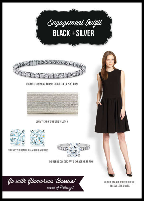 Black and silver wedding engagement outfit