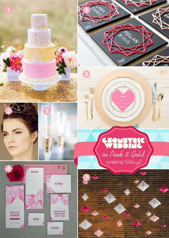 Geometric wedding inspiration in modern pink and gold