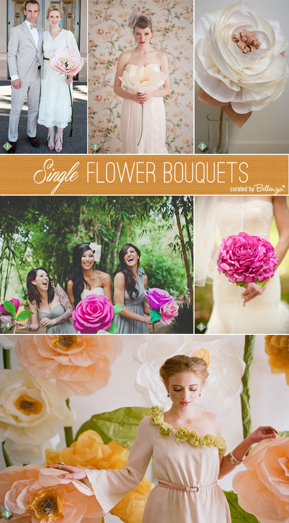 Single flower bouquets made of paper or fabric   as featured on the Wedding Bistro at Bellenza