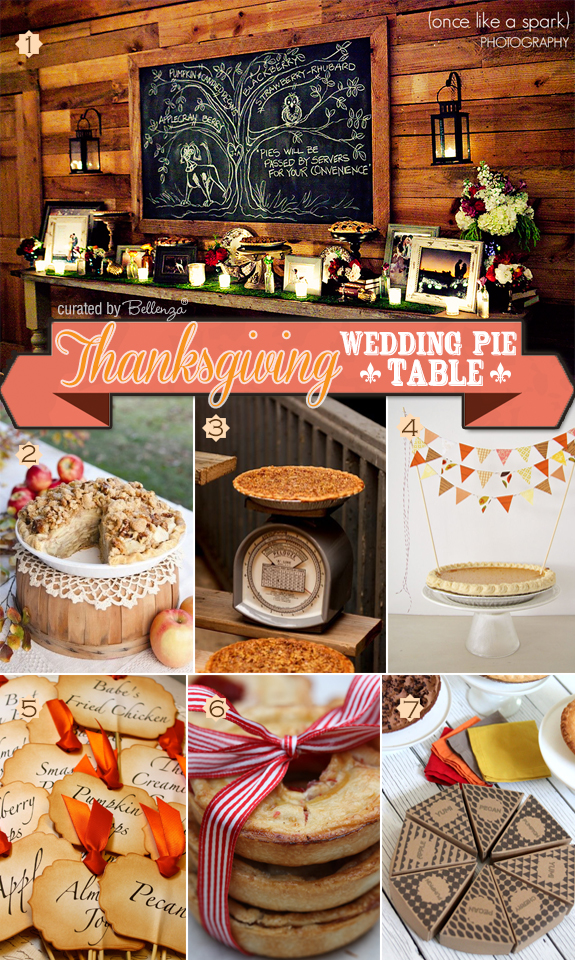 Tips for how to assemble a Thanksgiving pie wedding table.