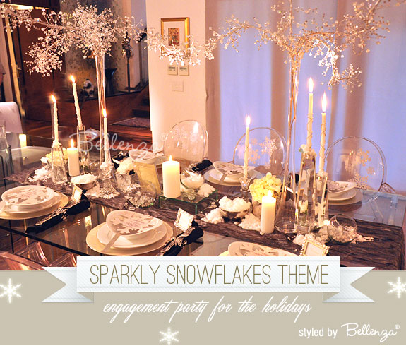 Winter sparkle - a snowflakes themed engagement party with a Winter Wonderland styling by Bellenza