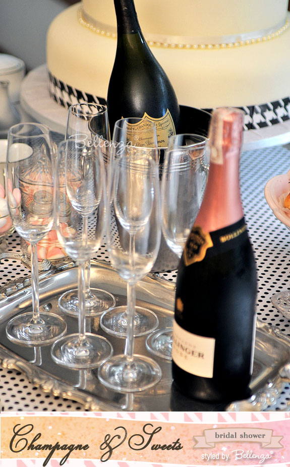 The champagne bottle label of a Bollinger Rosé adds a touch of pink