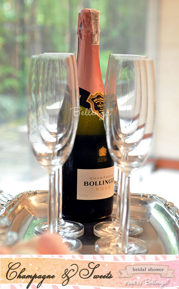 Bollinger Rose with champagne flutes for a sweets and champagne bridal shower | styled shoot by Bellenza