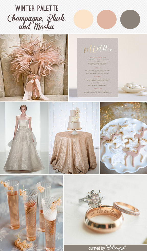 Champagne Blush And Mocha Wedding Inspiration With A Ball Gown Dress Sequined Table