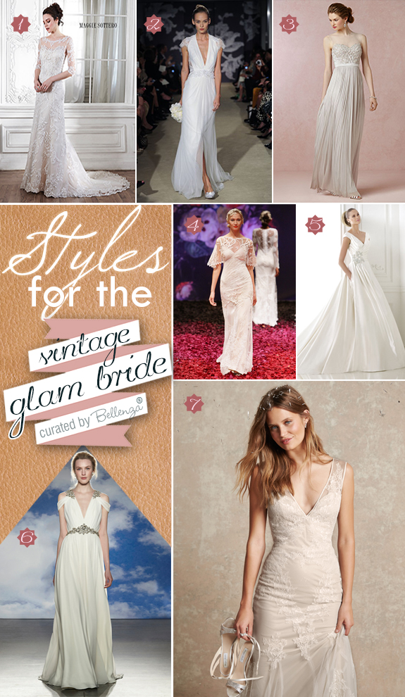 Vintage glam style wedding dress styles from cap sleeves to sheer lace to lace embroidery and beadwork.