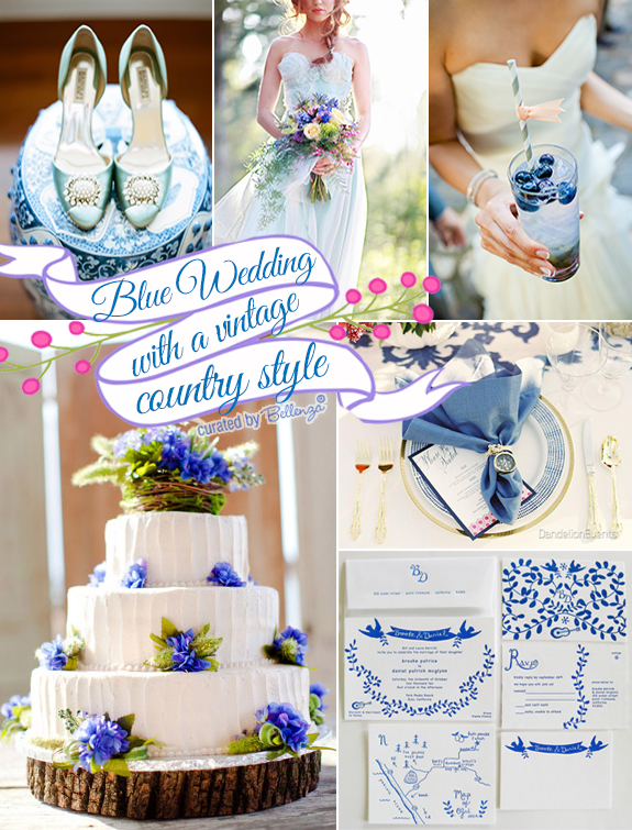 Vintage country summer wedding colors in soft blues as featured on the Wedding Bistro at Bellenza