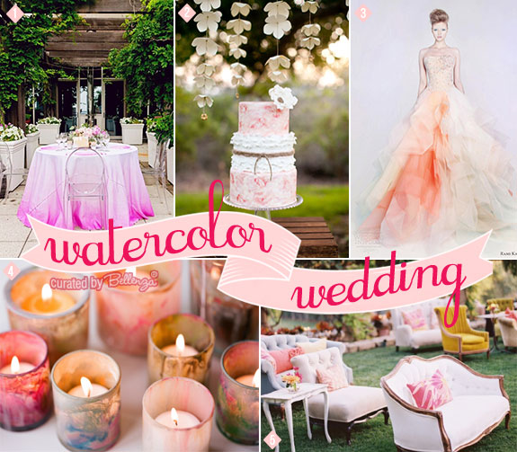 Pink and orange watercolor ombre wedding inspiration with a pink ombre tablecloth, peach wedding cake, and ombre wedding dress