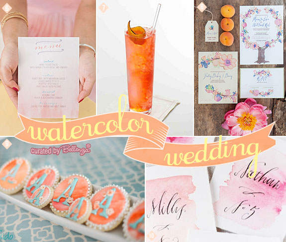 Watercolor wedding in ombre with invitations, menu cards, cocktails, and cookie favors.