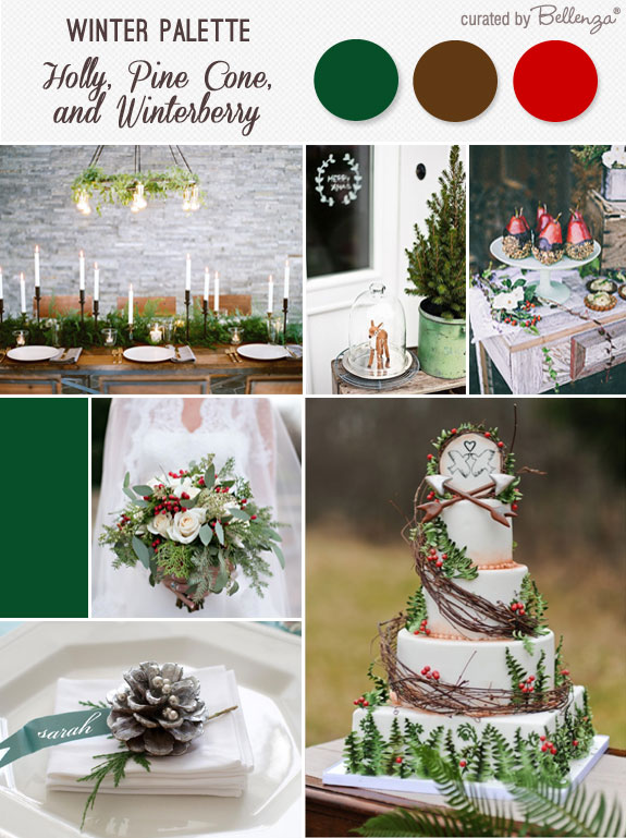 Holly, pine cone brown, and winterberry for winter woodland wedding
