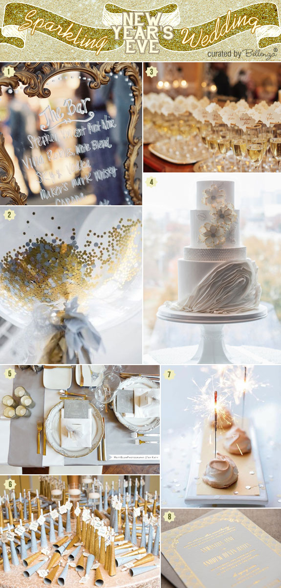 A Dazzling New Year's Eve Wedding in Gold and Silver with a Mirror Bar Signage, Confetti Table, Party Horns, Sparkling Desserts, and Invitations with Gold Foil Ink.