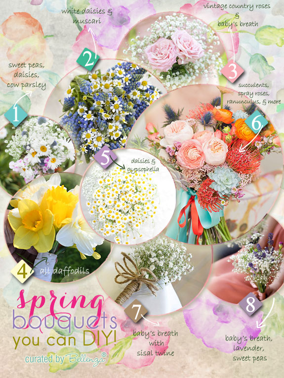 Simple DIY bouquets for spring wedding as featured on the Wedding Bistro at Bellenza from daffodils to baby
