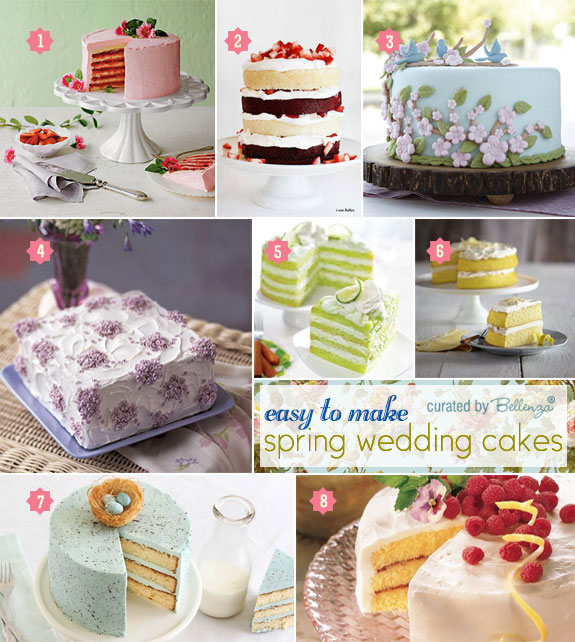DIY Spring Wedding Cake Finds Featuring Cakes with Berries, Speckled Eggs, and Sugared Flowers.