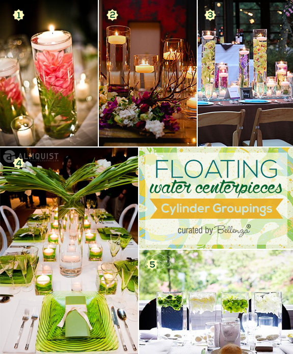 Decorating tips using tall glass cylinders for creating floating centerpieces