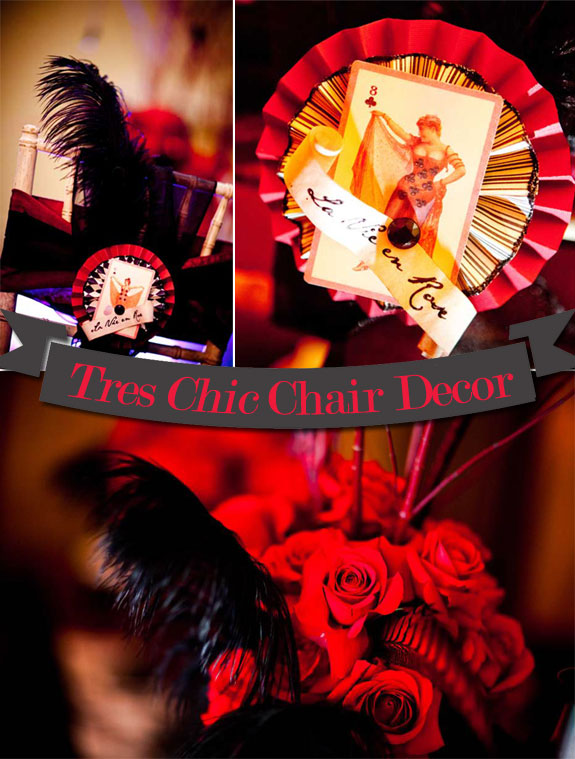 Moulin Rouge Chair Decorations by Jessie Baca Weddings and Events.