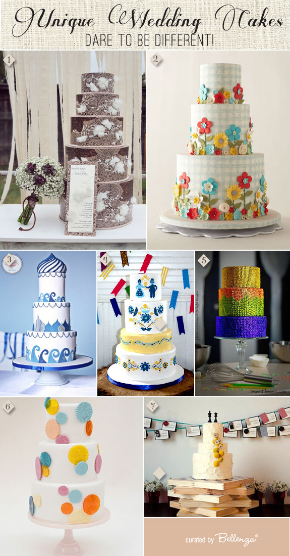 Offbeat wedding cake designs from country flowers to edgy and modern!