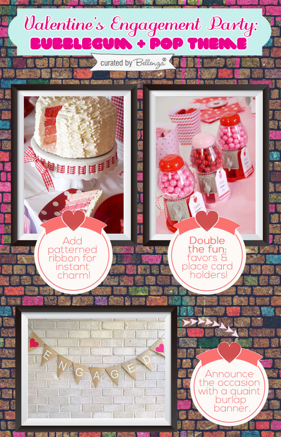 Valentine' s cake, banner, and gumball favors