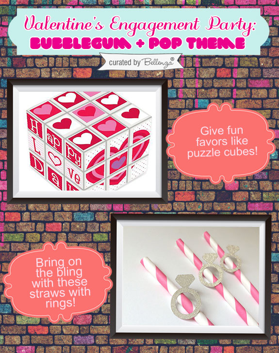 Valentine' s puzzle cubes and straws. Favors for an engagement party!