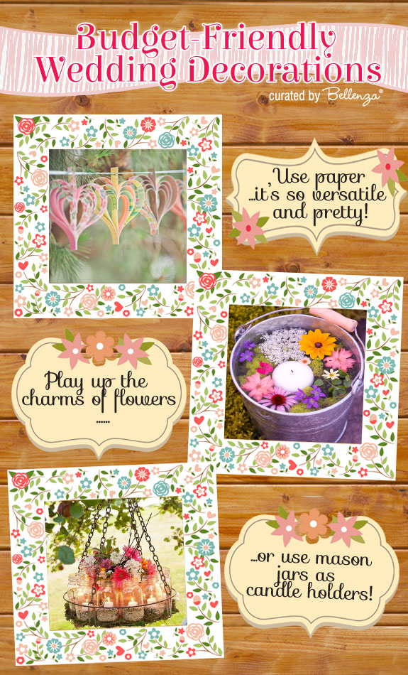 Budget friendly wedding decorations for a spring ceremony from DIY paper garlands to aisle decor.