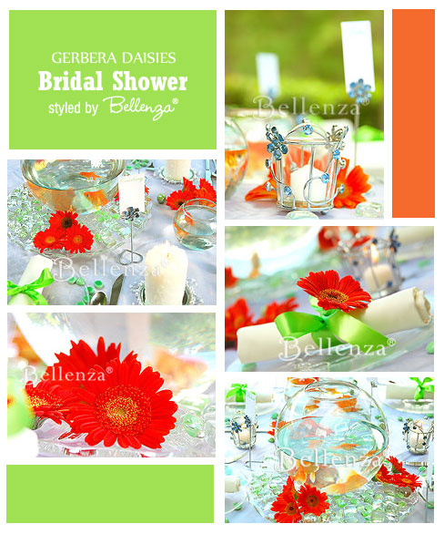 Gerbera daisies spring bridal shower in bold colors of orange and green by Bellenza.
