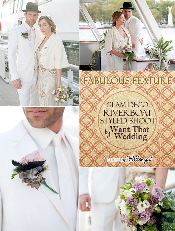 Glam river boat styled shoot feature with Fiona Kelly Wedding Photography and Want That Wedding