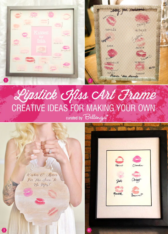 Lipstick kiss art frame tips and inspiration for making your own. Perfect as a bridal shower or bachelorette gift.