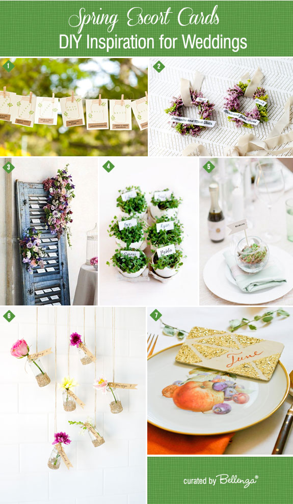 Spring diy escort card ideas inspired by nature from flower wreaths to eggshells to mini terrariums.