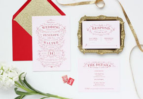 Blush gold red invites