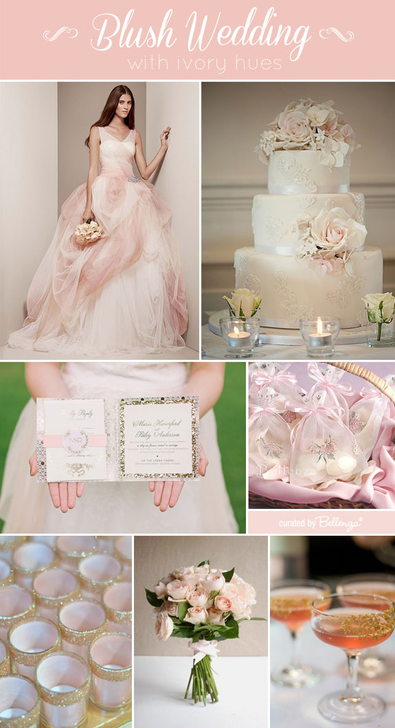 Elegant Blush Wedding Details in Ivory and Gold.