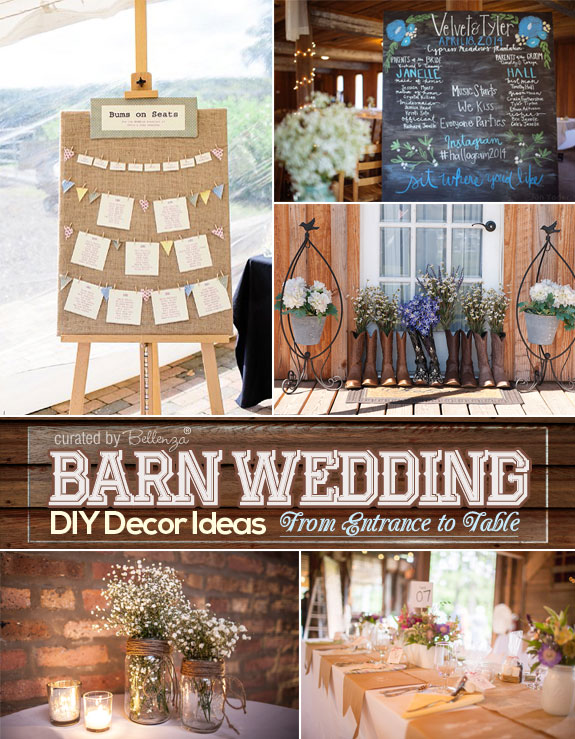 Barn Wedding DIY Decor Ideas: From Entrance to Table | as featured on the Wedding Bistro at Bellenza