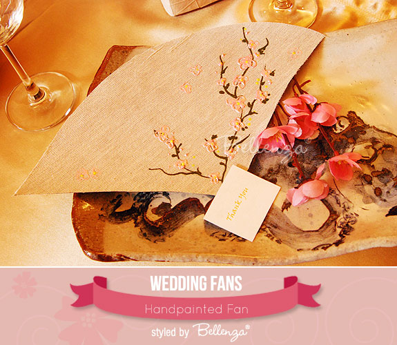 An Artistic Handpainted Fan with an Asian Style | created by the Wedding Bistro at Bellenza