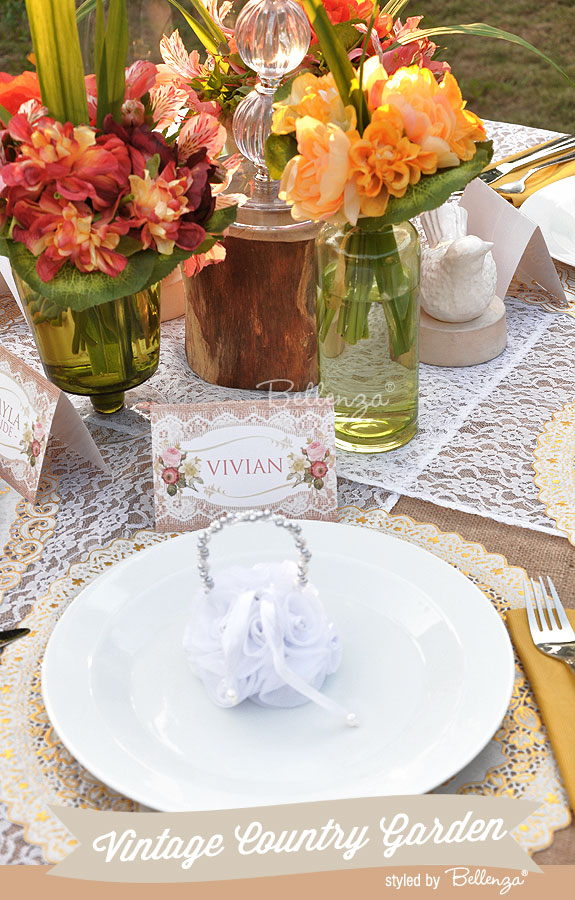 Vintage Country Garden Place Card Settings