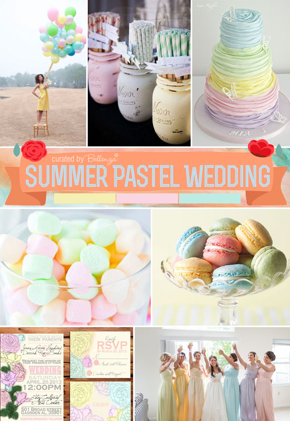 Bring Sweet Pastels to Your Summer Wedding with a Palette of Whimsical Elements in Florals and Confections.