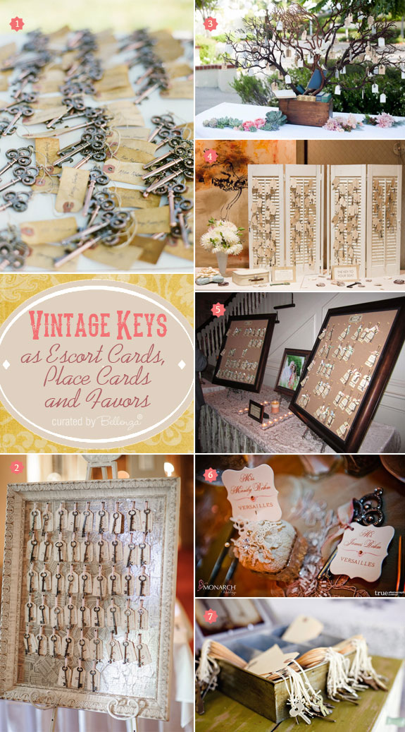 Vintage Keys as Wedding Escort Cards, Place Cards, and Favors ...