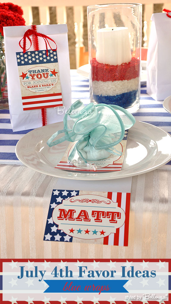 Blue packaging for July 4th favors | as styled by Bellenza. #july4weddings #july4weddingfavors
