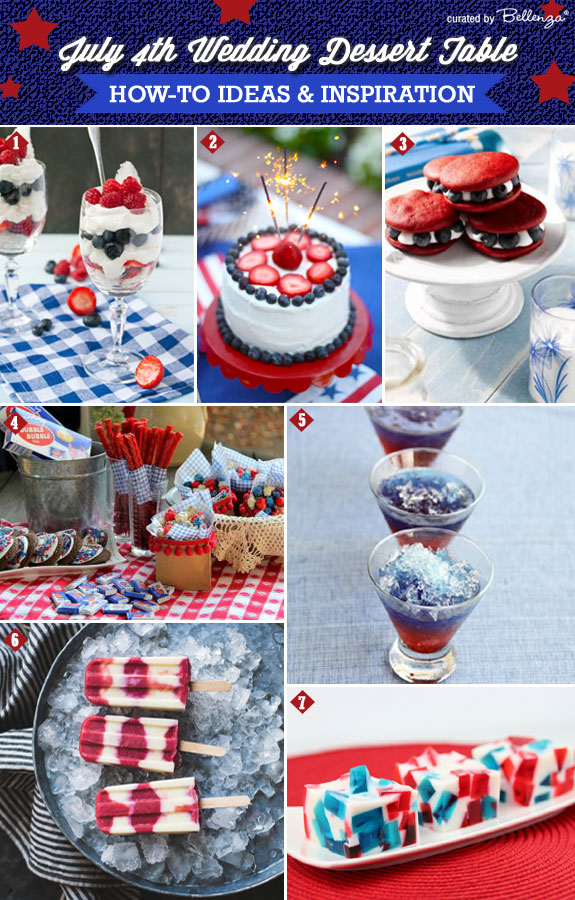 July 4th Wedding Dessert Table Ideas! How to Assemble One with Sophisticated All-American Desserts. #july4thweddingdesserts #july4thdesserts