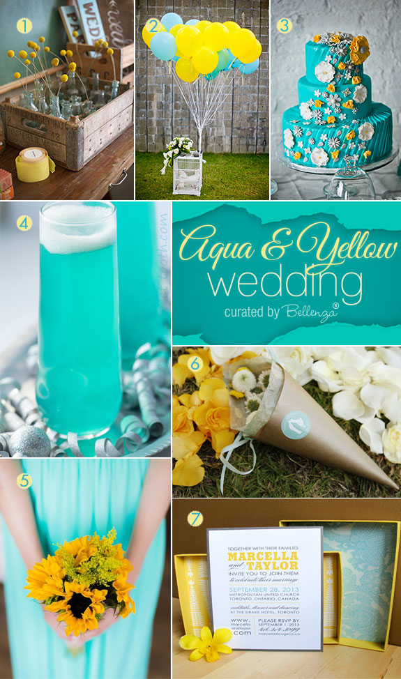 Aqua and Yellow! How to Use Them at Your Summer Wedding. #aqua weddings #aquaandyellowweddings.