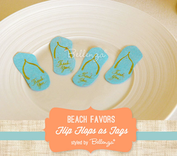 Flip flog tags in aqua as beach-inspired accents for packaging favors. Styled by Bellenza. #beachfavors #beachweddingideas