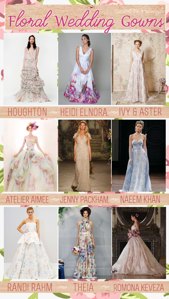 2016 Floral Wedding Gowns as featured on the Wedding Bistro at Bellenza. #floralweddinggowns